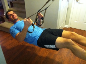 TRX fun at home.  It isn't called Fitness Anywhere for nothing.
