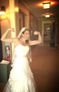 Showing off the Guns before walking down the isle.